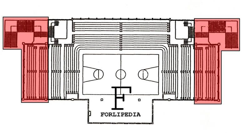 In rosso l'ampliamento delle gradinate realizzato nel 1976. Elaborazione Forlipedia.