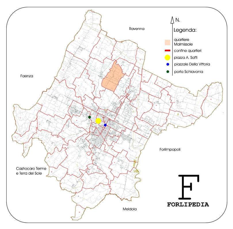 Mappa di base tratta dal sito ufficiale del Comune di Forlì: www.comune.forli.fc.it. Elaborazione grafica Forlipedia.