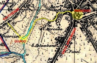 Il percorso che conduce al Paradiso dalla via Firenze, attraverso il guado, è tracciato sulle mappe dell'Istituto Geografico Militare realizzate nel 1894.