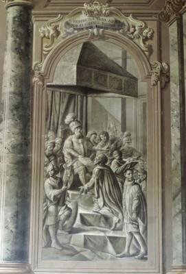 Nel 1241 Federico II concede ai forlivesi l'uso dell'aquila sveva sul proprio stemma civico e la facoltà di battere moneta. Giuseppe Marchetti, affresco. Sala del Bibiena (XVIII) palazzo comunale.