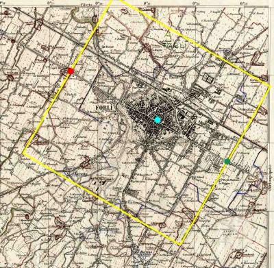 La Cerchia. Antica opera idraulica e amministrativa del territorio forlivese. Stralcio di mappa IGM, elaborazione grafica Forlipedia.