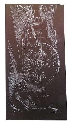 """""""Il Re Teodorico e la Leggenda del Mausoleo"""". Acquaforte a 1 lastra di Angelo Ranzi. 1979. Raccolta privata."""