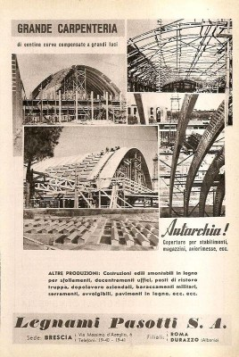 Una vecchia pubblicità della Legnami Pasotti, l'azienda che realizzò negli anni '60 la scuola prefabbricata dei Romiti e di Villafranca