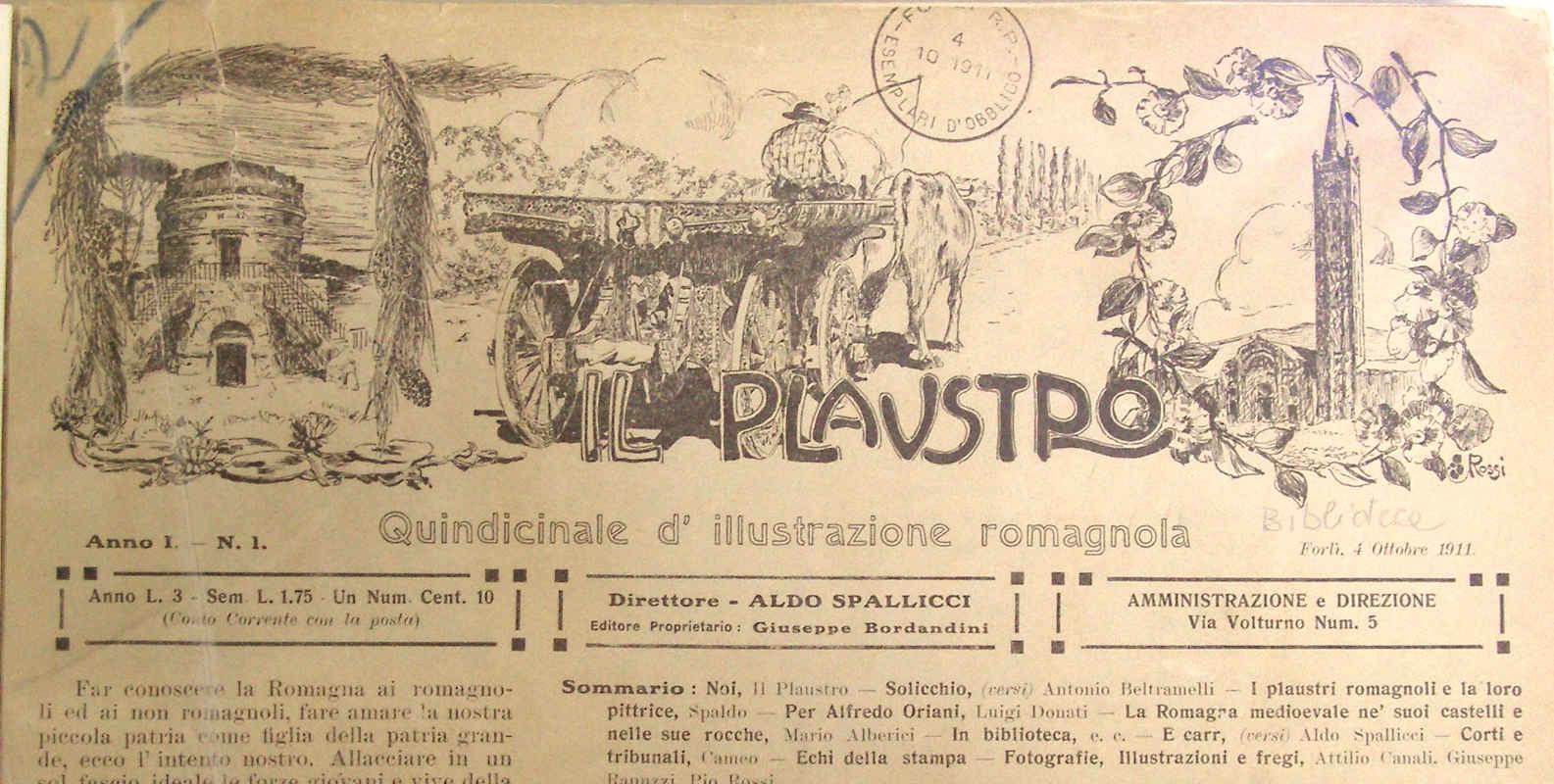 """Il primo numero de """"Il Plaustro"""". Quattro ottobre 1911."""