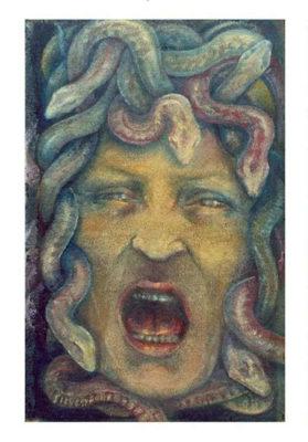 Carmen Silvestroni: autoritratto. Dipinto su moquette. 1995.