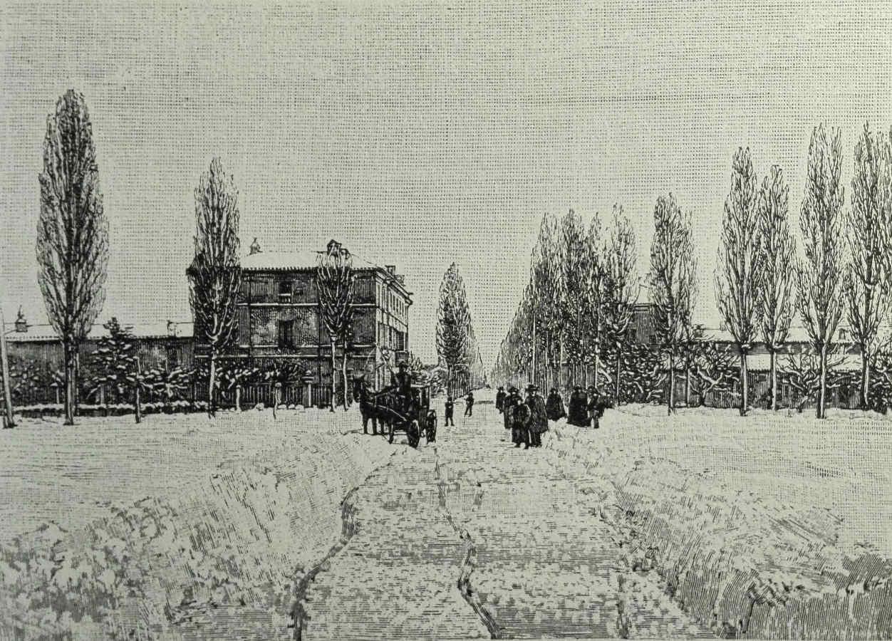 """""""Via Emilia da piazza del Nord"""". Oggi si direbbe: """"Viale Roma da piazzale Della Vittoria"""". Immagine tratta da: """"Le Cento Città D'Italia"""" 1889. Raccolta privata."""