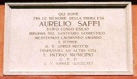 Villa Saffi, lapide commemorativa