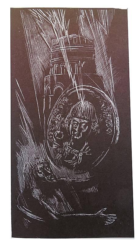 """""""Il Re Teodorico e la Leggenda del Mausoleo"""". Acquaforte di Angelo Ranzi. 1979. Raccolta privata."""