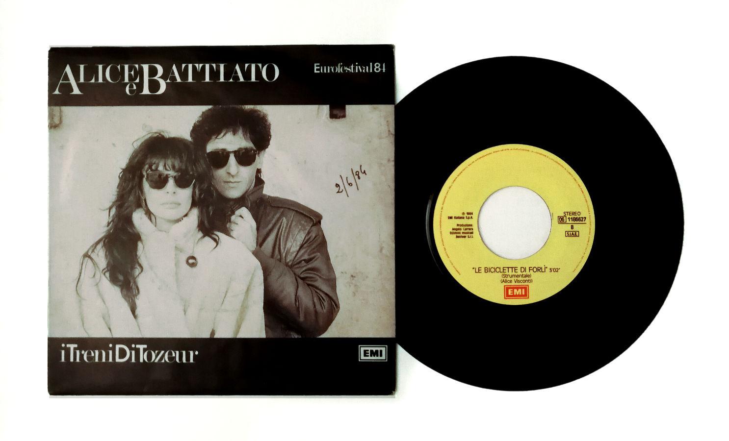 """""""Le Biciclette di Forlì"""". Retro del 45 giri di Alice e Battiato I Treni di Tozeur. 1984."""