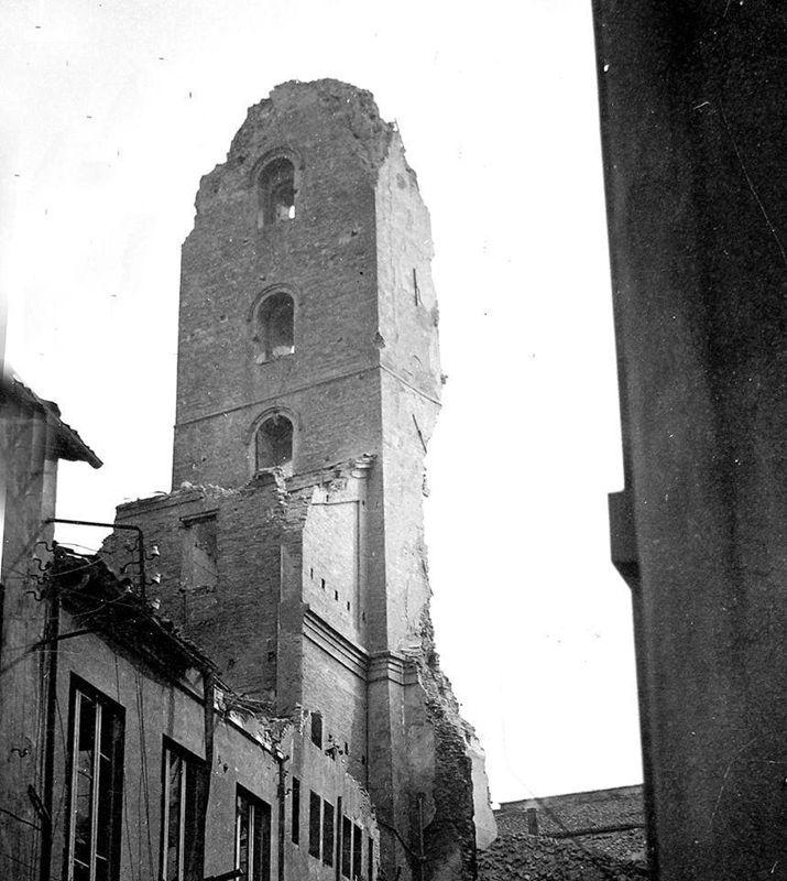 La Torre civica distrutta dalle mine tedesca durante la ritirata. Biblioteca Civica , fondo Baldazzi.